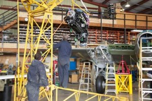 Freshly-rebuilt Rolls Royce Merlins get installed in the Mosquito. (Image Credit: Victoria Air Maintenance, Ltd.)