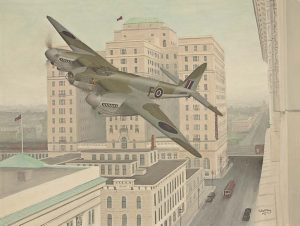 Artist rendering of 'F for Freddie' buzzing the streets of Calgary on May 9, 1945. (Image Credit: Calgary Mosquito Society)