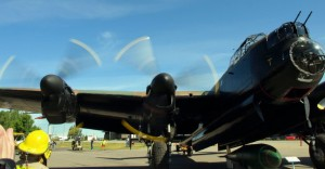 Lancaster running two of its restored Merlins for museum visitors. (Image Credit: Bomber Command Museum of Canada)