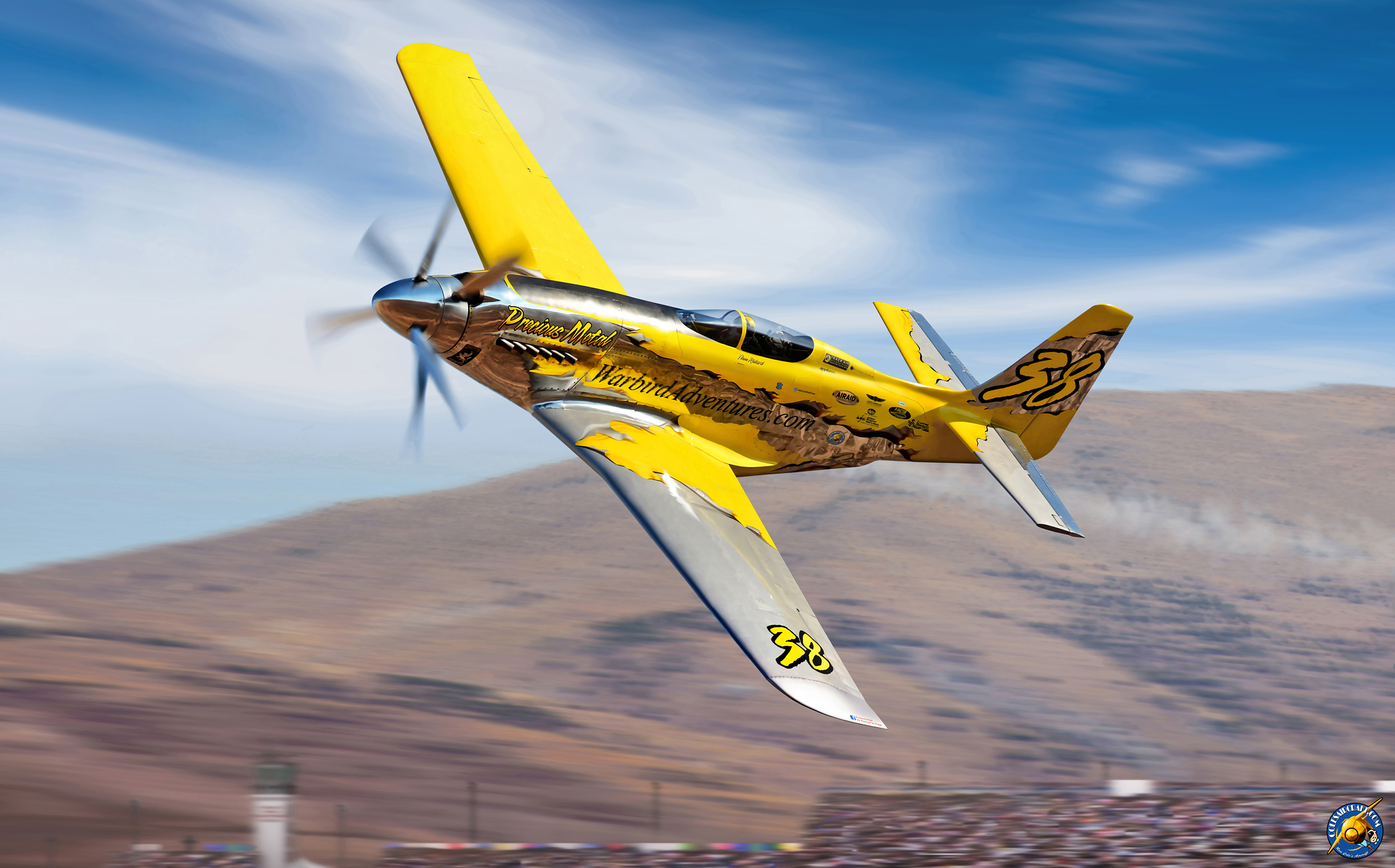 Aviation artist Ron Cole's commissioned rendering of Precious Metal screaming around the Reno pylons. (Image by Ron Cole)