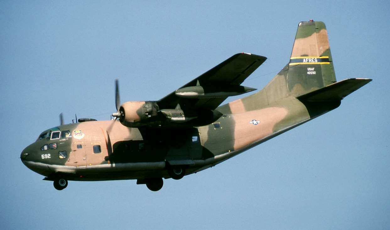 """Warriors & Warbirds' newly acquired C-123 Provider """"Ponderous Polly""""  landing at Rammstein AFB in West Germany during her active service days circa 1978. (Photo via Warriors & Warbirds)"""