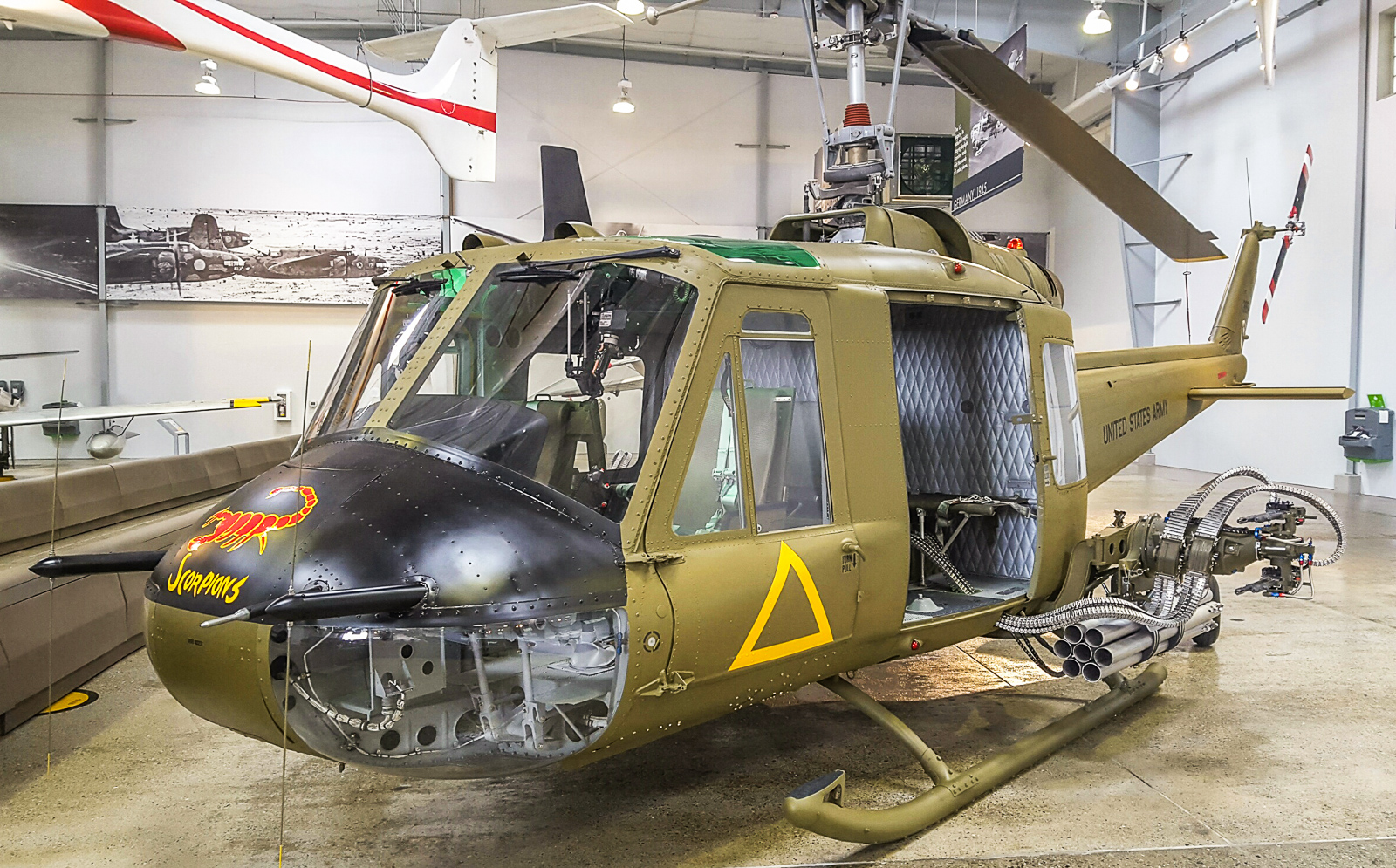 The Flying Heritage Collection's freshly-restored Bell UH-1B Iroquois has just gone on display at the museum. (photo via FHC)