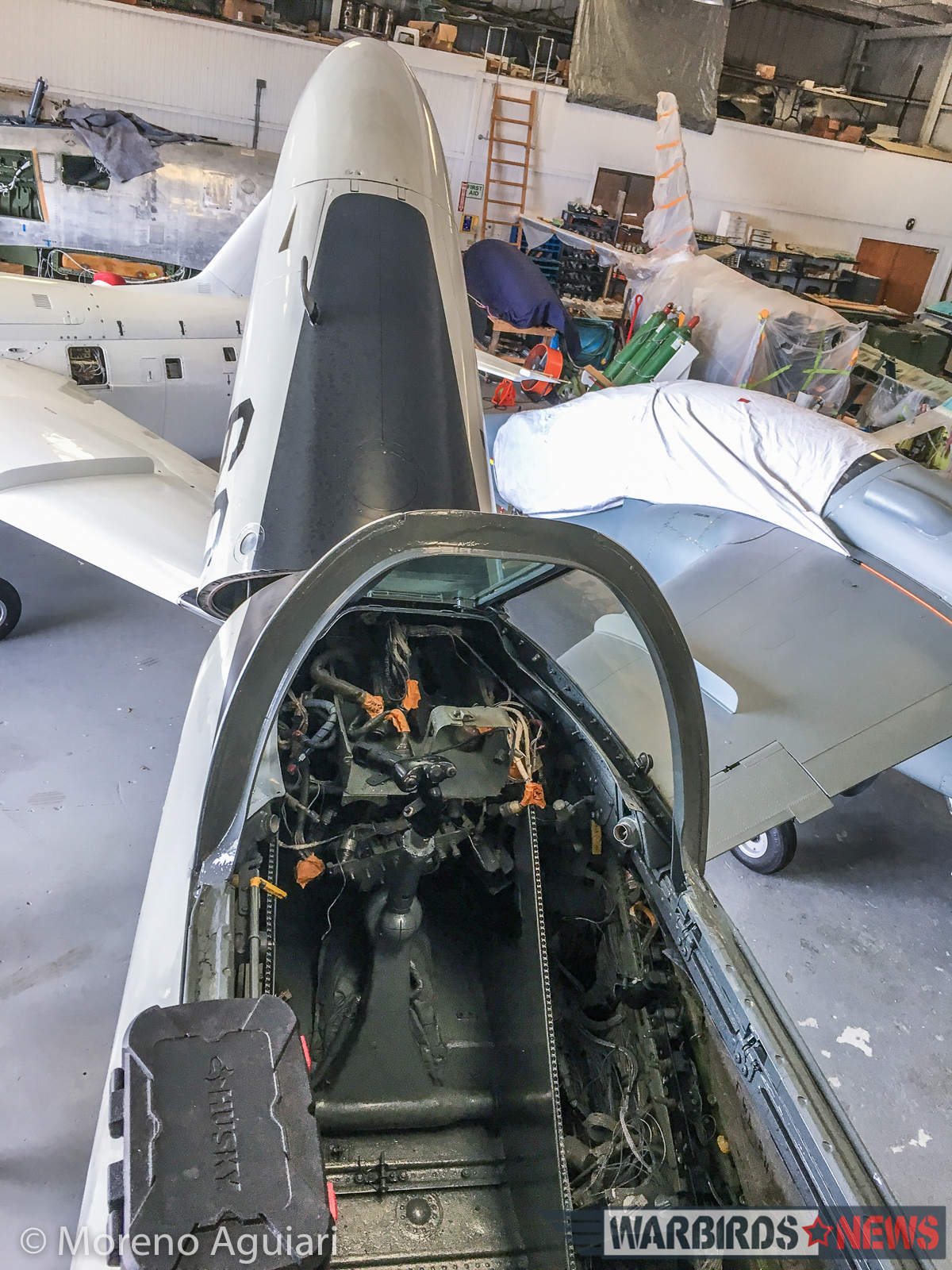 Rewiring the TA-4J's cockpit at Classic Fighters of America's hangar. (photo by Moreno Aguiari)