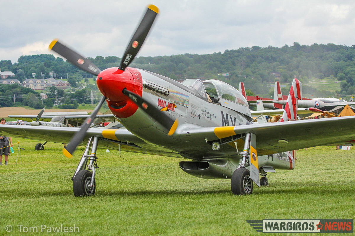 P-51D 45-11559 'Mad Max' taxies out on the Geneseo turf for a flight. (Photo by Tom Pawlesh)