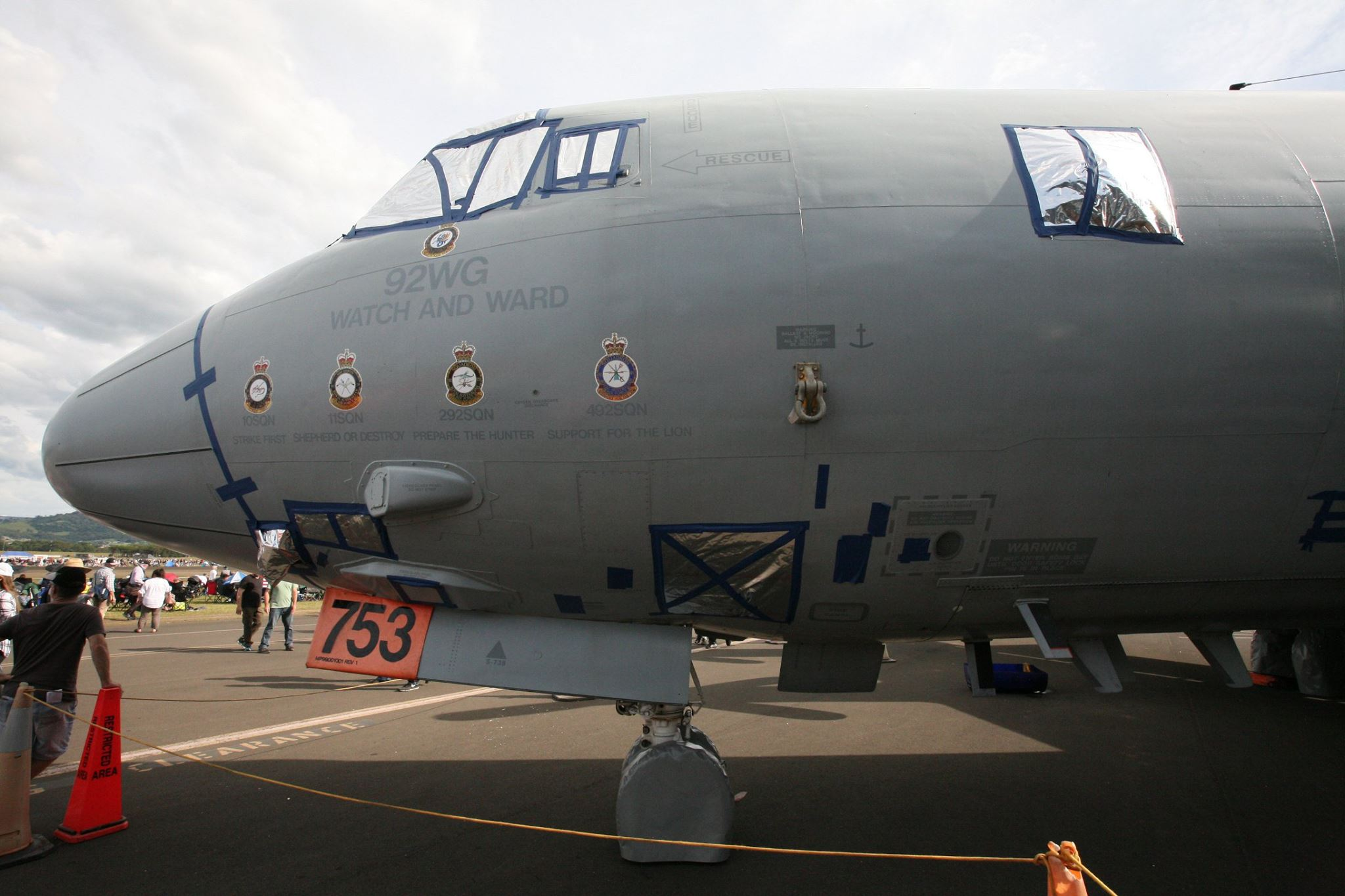 A closeup of A9-753 showing her squadron heritage. Note the tape covering panels lines and the silver foil window coverings. These were put in place to protect the integrity of the aircraft while the Australian Department of Defense sought permission to formally hand over ownership to HARS. The museum will soon get to work preparing the Orion to fly once more. (photo by Phil Buckley)