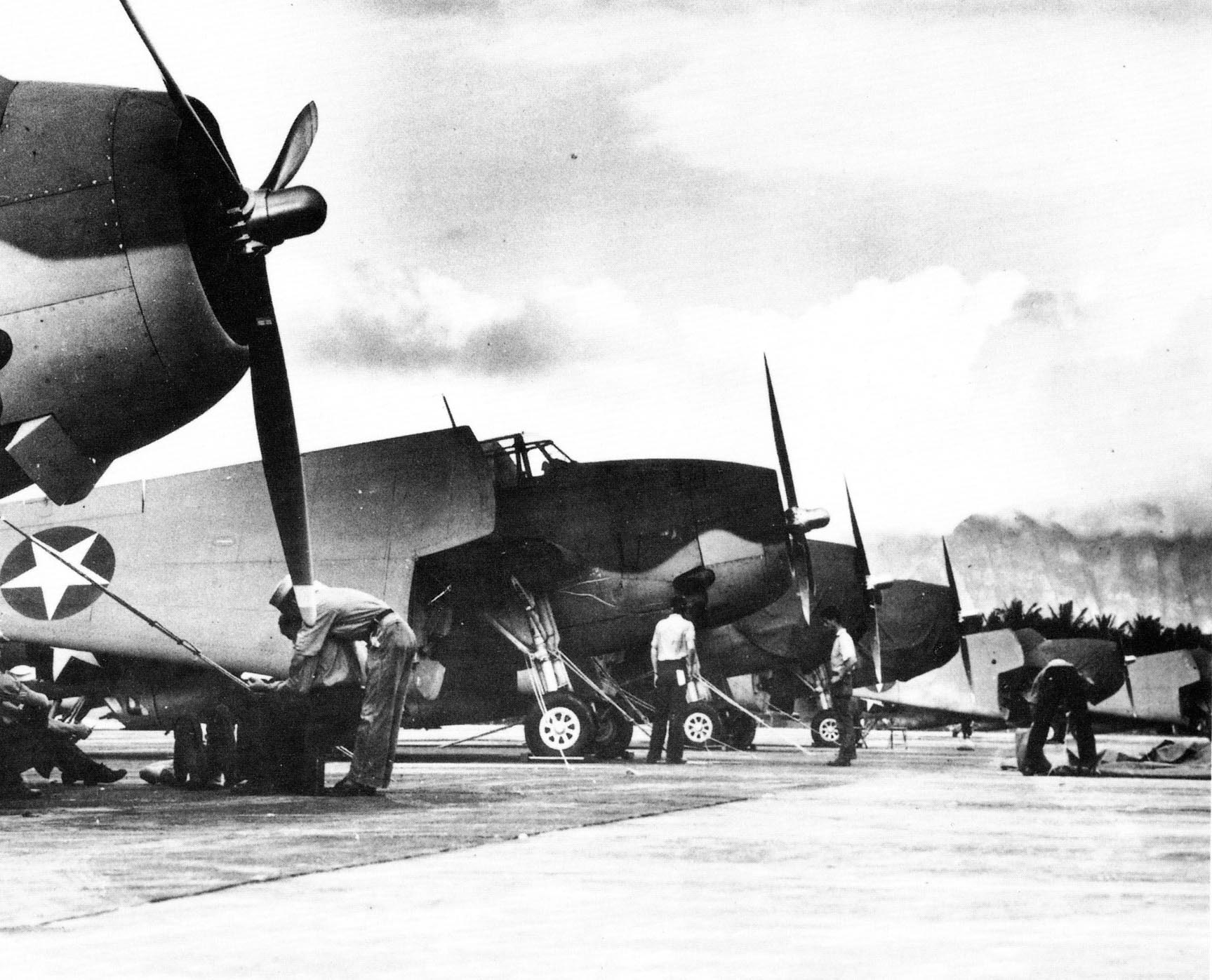 A squadron of TBM Avengers tied down in Hawaii during WWII. [Photo Credit: National Archives]