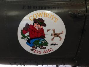 "The emblem of the 335th Assault Helicopter Company ""Cowboys""."