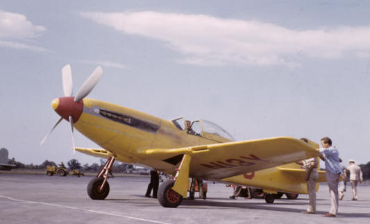 A rare color image showing how Anson Johnson's highly modified Mustang looked at the 1949 Cleveland Air Races. This is how the NEAM will present the aircraft when the restoration is finished. (photo by Aaron King via NEAM)