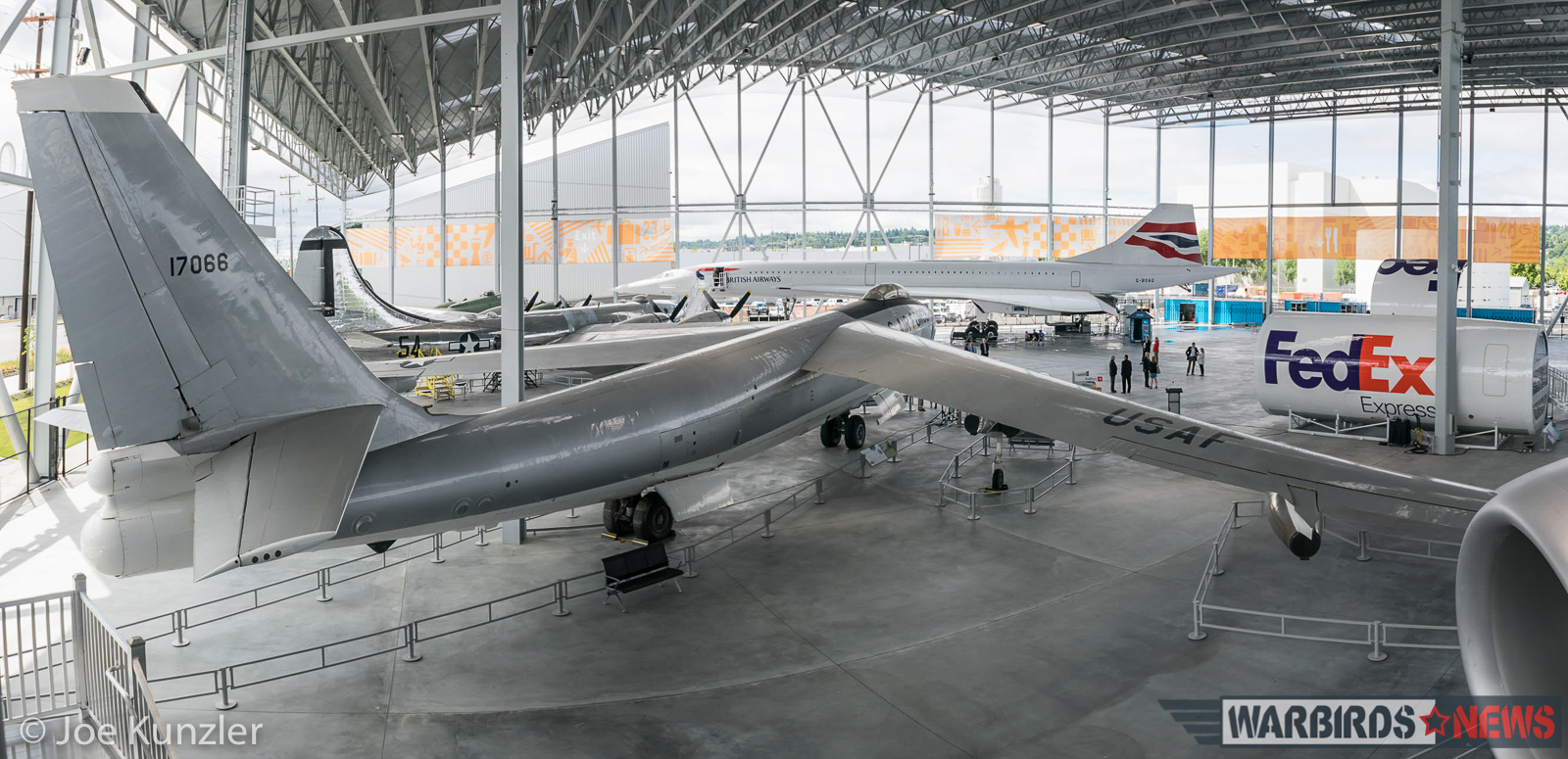 A panoramic view of the Museum of Flight Aviation Pavilion showing the Boeing B-47 in the foreground. (photo by Joe Kunzler)
