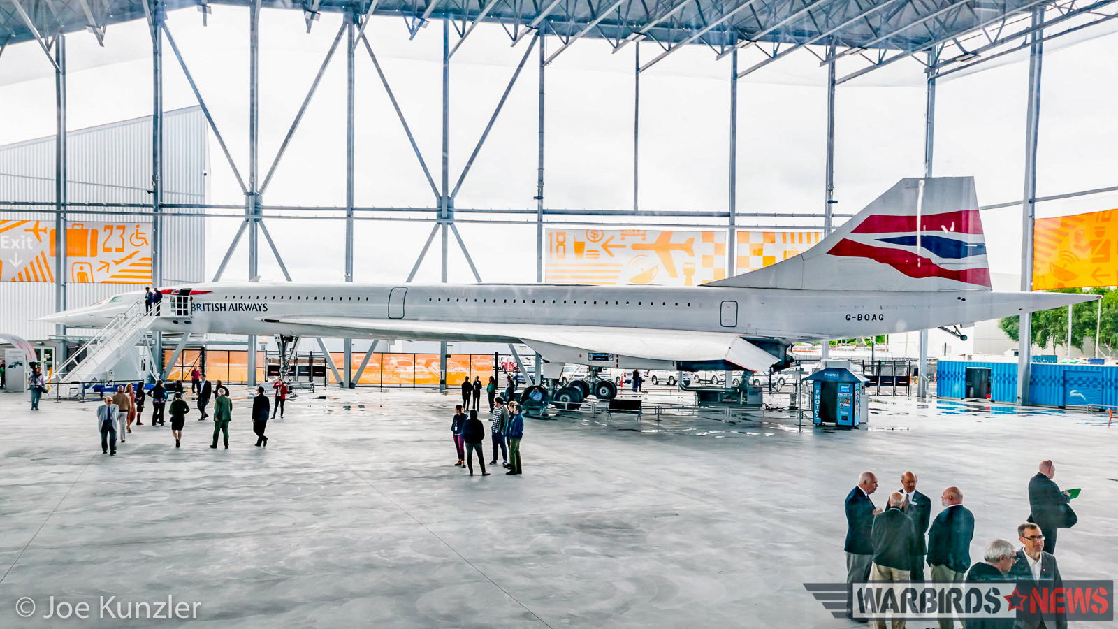 16:9 Panorama of the Museum of Flight Concorde from the FedEx 727 fuselage. (photo by Joe Kunzler)