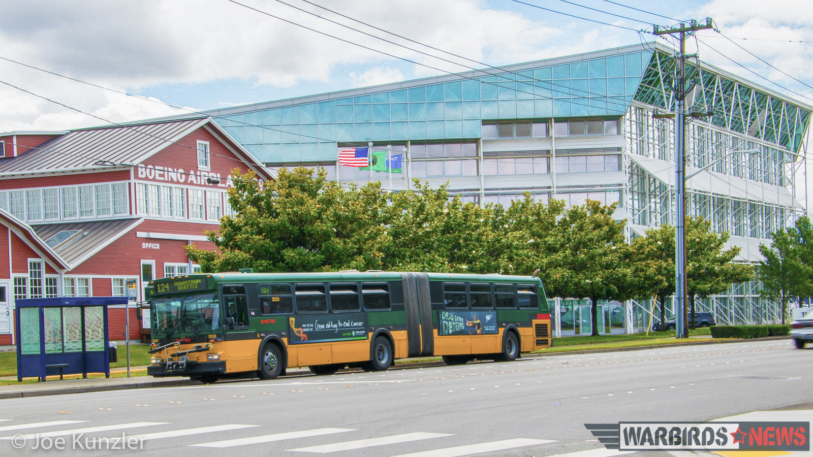 The 124 bus outside the Museum of Flight's main campus at Boeing Field. (photo by Joe Kunzler)