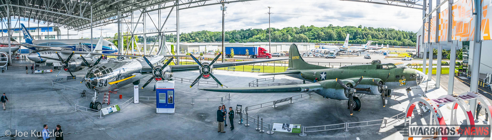 A panorama of the Boeing bombers inside the newly-opened Aviation Pavilion. (photo by Joe Kunzler)