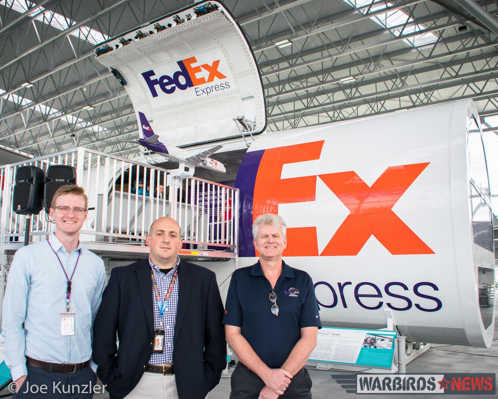 Three of the FedEx exhibit builders including John Talman. (photo by Joe Kunzler)