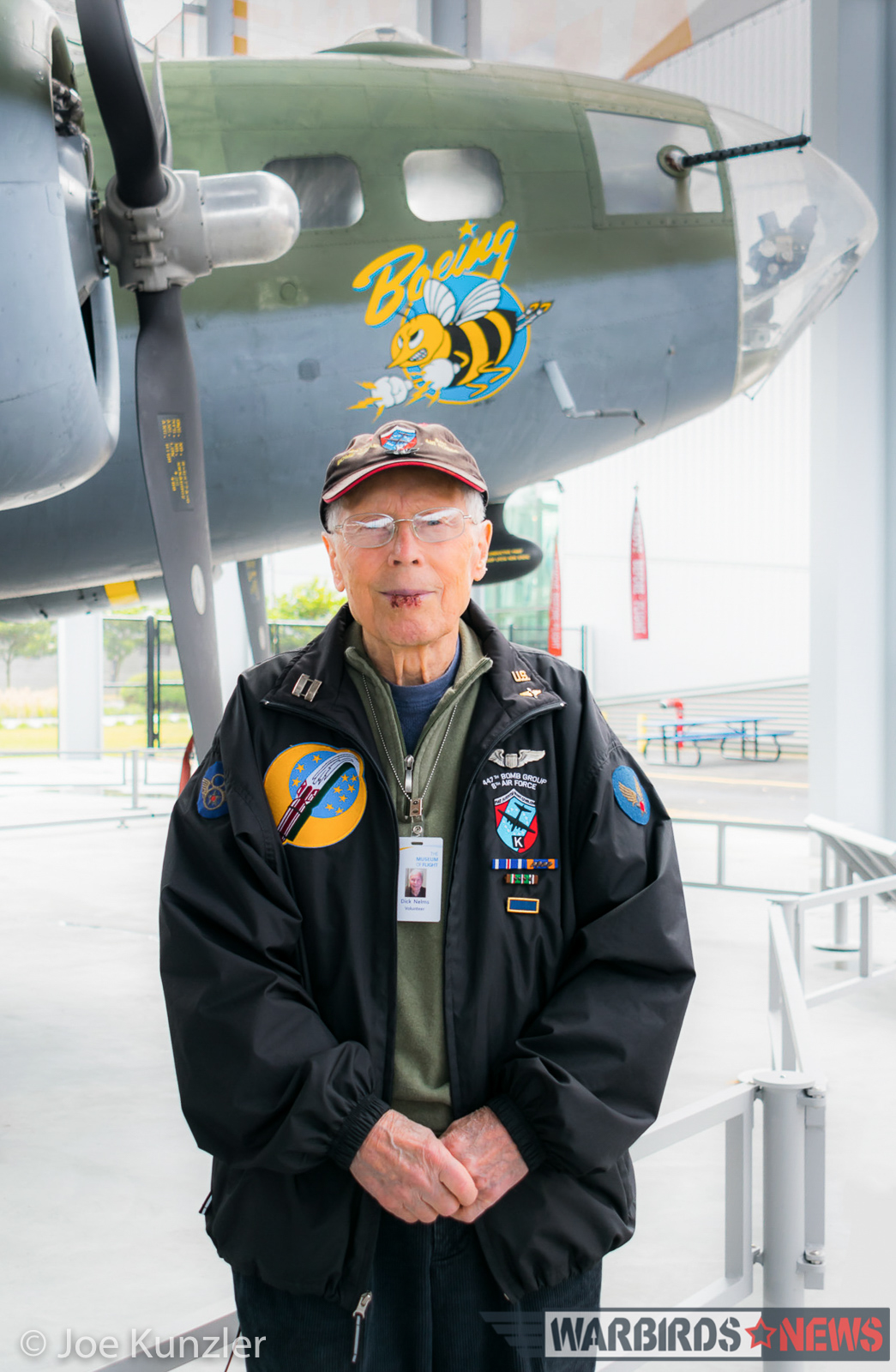 WWII B-17 pilot Dick Nelms and the Boeing Bee. (photo by Joe Kunzler)