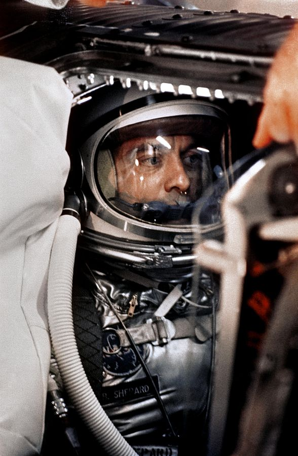 Alan Shepard aboard his famous space-shot wearing the space suit that NASM is now preserving. (photo via Wikipedia)