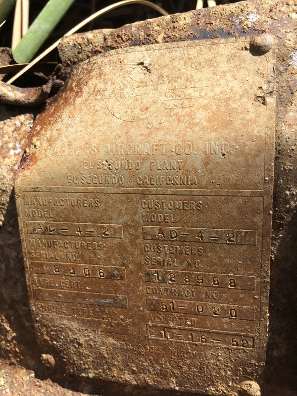 AD-4 Skyraider main data plate which confirmed that the wreck was from Bu.No:128988. (Image credit Brett Holcombe)