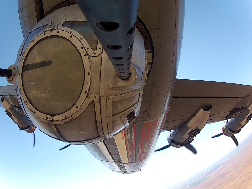 "A breathtaking mid-flight view of the ball turret belonging to the Collings Foundation's B-24J Liberator known as 'Witchcraft"" (photo via Collings Foundation)"