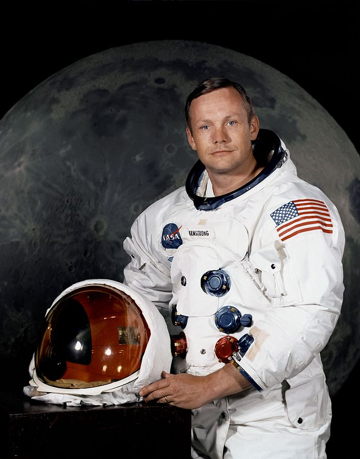 Neil Armstrong, the first man to walk on the moon, posing in his spacesuit prior to the famed Apollo XI lunar mission. NASM has just crowd-sourced the funding to preserve his space suit. (photo via Wikipedia)