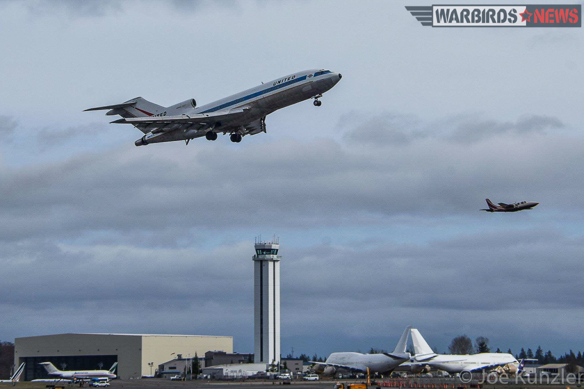 The Boeing 727 Prototype taking of from pain Field for her final flight. The former P-51 race-pilot and hydroplane champion Chuck Lyford and photographer Jim Larsen are in the Piper Aerostar chase plane. ( Photo by Joe Kunzler) #727finalflight