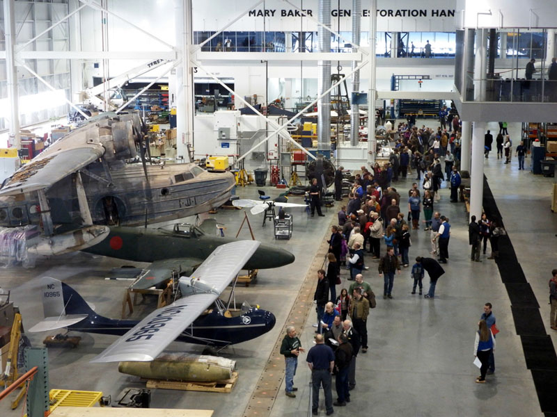 Visitors stroll through the Mary Baker Engen Restoration Hangar during the Smithsonian National Air and Space Museum's first Steven F. Udvar-Hazy Center Open House, held last January. (NASM photo)