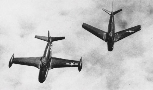 Two Furies: A straight-winged North American FJ-1 flying next to a swept-wing FJ-2 in 1952. The FJ-1 design dated back to the Second World War, and only 33 were produced in 1948. The FJ-1 led North American Aviation to the design of the F-86 Sabre ordered by the U.S. Air Force. In 1951 the U.S. Navy again ordered a navalized version of the F-86, naming it FJ-2, which first flew on 14 February 1952. It was essentially a F-86E with an arrester hook and folding wings. Reaching squadrons in 1954, the 300 FJ-2s were only used by the U.S. Marine Corps from land bases, and normally not from aircraft carriers. 538 uprated FJ-3s followed, still looking like F-86s, but also widely used by the Navy. North American then designed a special ground attack version, the FJ-4, with first flew in 1954. This plane was quite different from the F-86. The FJs were redesignated F-1 under the unified designation system in 1962, FJ-3 becoming F-1C/D and FJ-4 F-1E. U.S. Navy Naval Aviation News May 1952. ( Source Wikipedia)