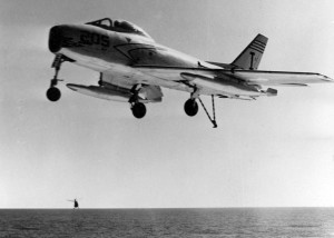 A U.S. Navy North American FJ-3 Fury from Fighter Squadron VF-21 Mach Busters approaches the deck the USS Forrestal (CVA-59)in 1956.U.S. Navy National Museum of Naval Aviation photo No. 1996.253.7226.004 ( Source Wikipedia)