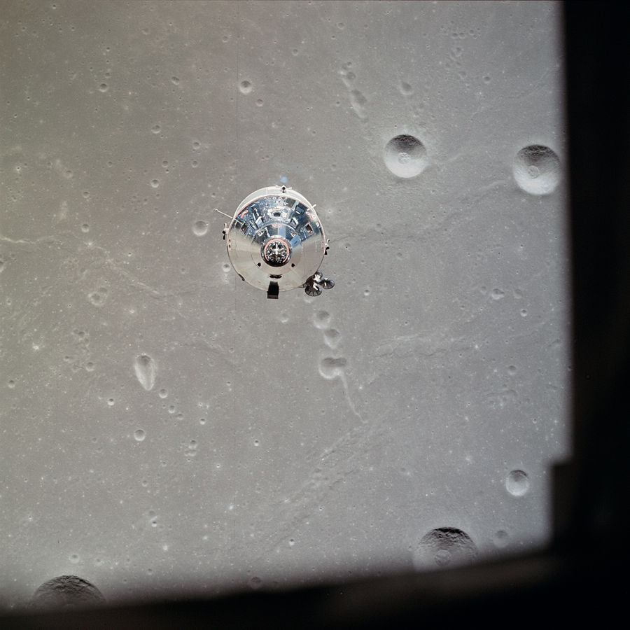 Apollo 11 Command/Service Module Columbia in lunar orbit, photographed from the Lunar Module Eagle