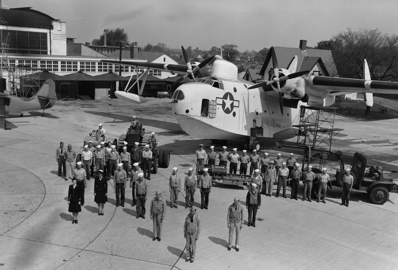 A Coast Guard PBM, aircrew and support personnel, circa 1943.. ( Image via U.S. Coast Guard Aviation History Archives)