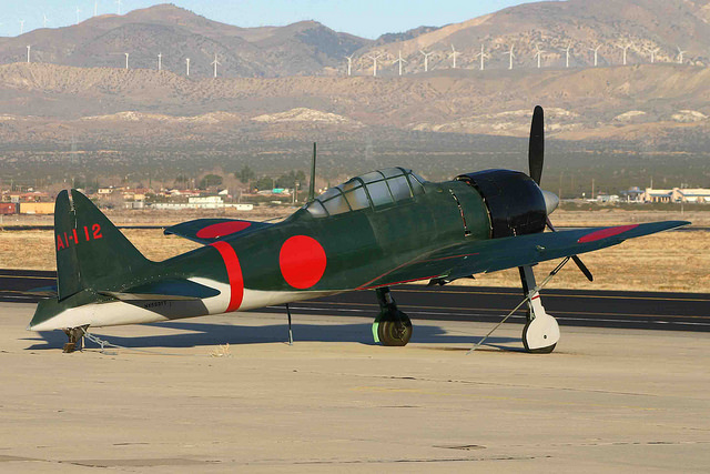 The A6M-3 Zero currently flying in Japan is stilll in its warpaint from the film Pearl Harbor. It is seen here at Mojave in 2006. (photo by Alan Wilson)