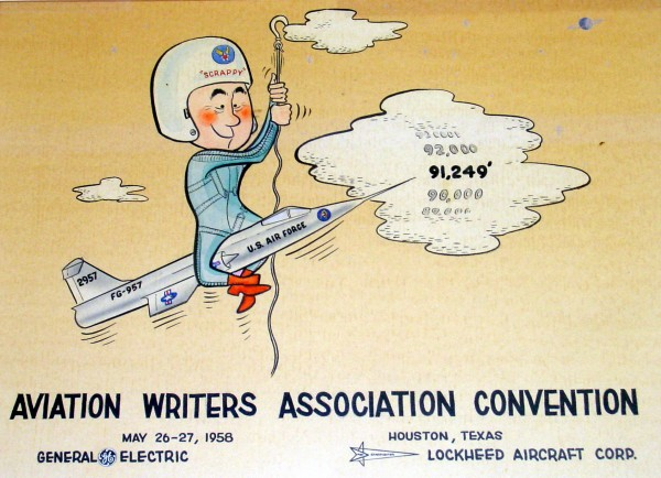A picture of the altitude record cartoon donated to Scrappy by the Aviation Writers Association.