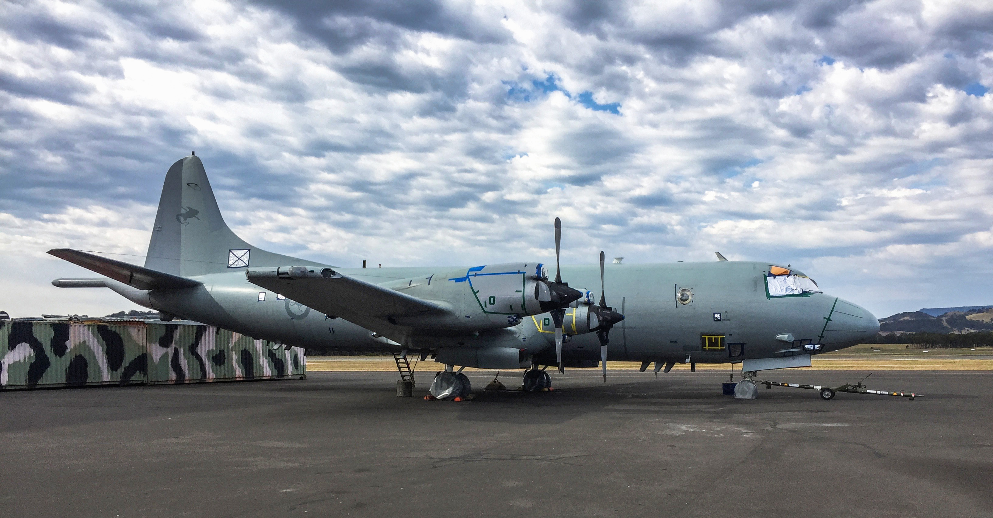 HARS AP-3C Orion on the ramp at the museum. The aircraft is currently inhibited to prevent moisture getting in to sensitive areas, but will receive a thorough going over in preparations for flying again in the coming months. (photo via HARS)