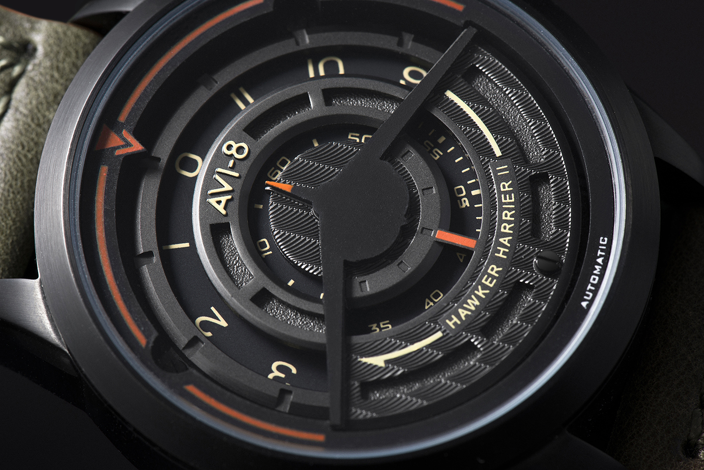 A close-up of the Titanium Carbide coated version of the AV 4047 Harrier II timepiece.