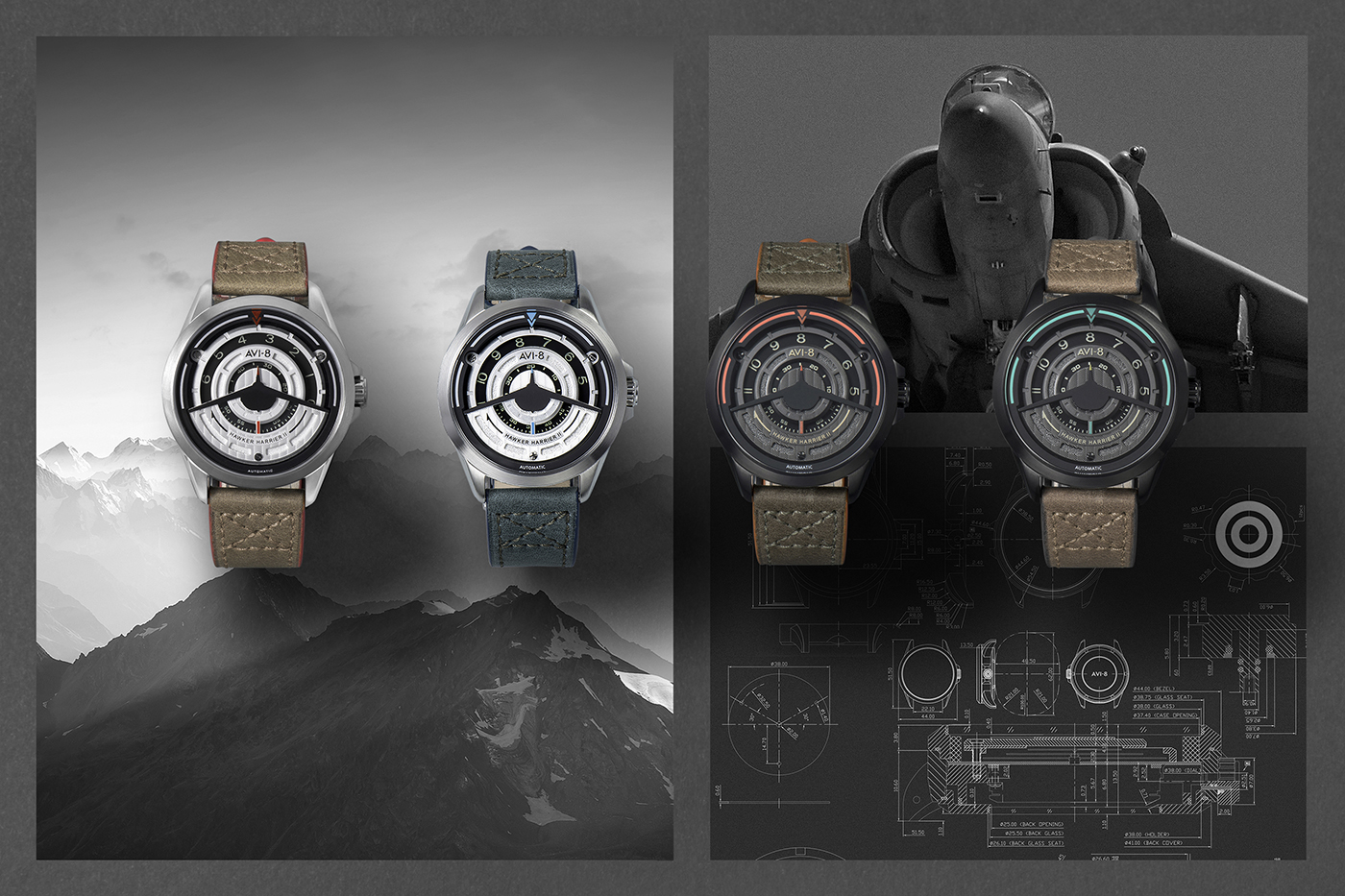 Some of the varieties of AVI-8's AV 4047 timepiece.