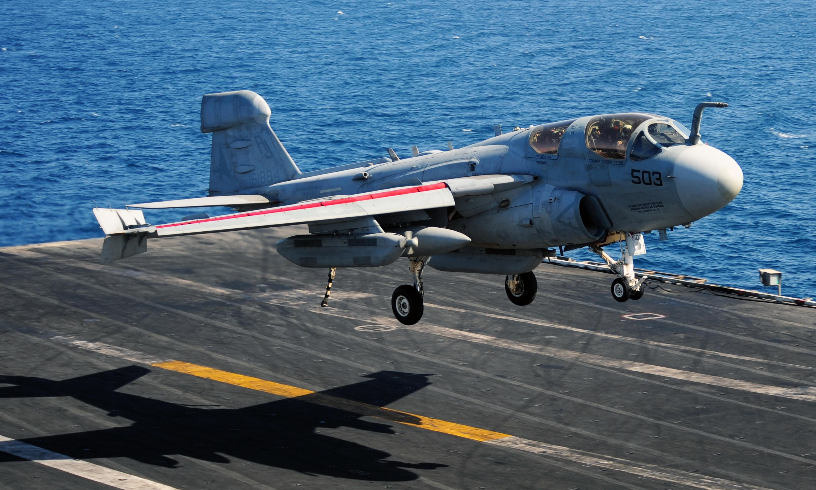 An EA-6B Prowler from VAQ-134 Garudas landing aboard the USS George H.W. Bush during the squadron's final operational Prowler tour last year. A Prowler from VAQ-134 will be joining the Museum of Flight's collection on May 27th. (U.S. Navy photo by Mass Communication Specialist 3rd Class Joshua Card/Released)