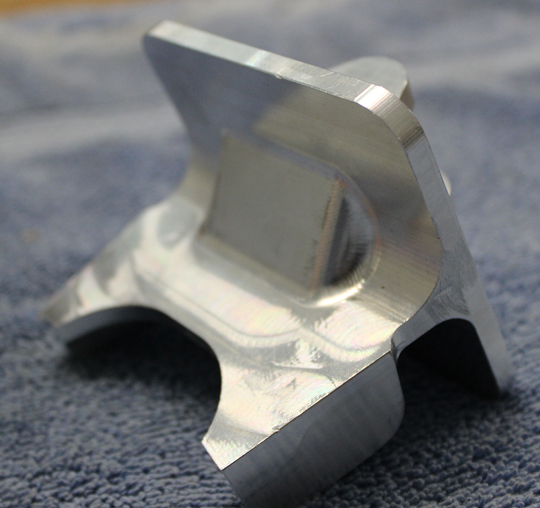 One of the newly manufactured aileron fittings. (photo via Tom Reilly)