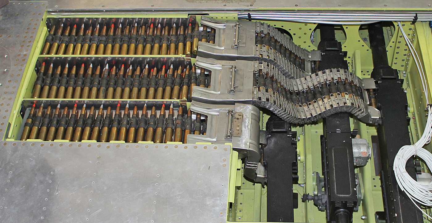 A view of the left hand gun bay. Ammo trays are filled with 413 rounds per tray.(photo via Tom Reilly)