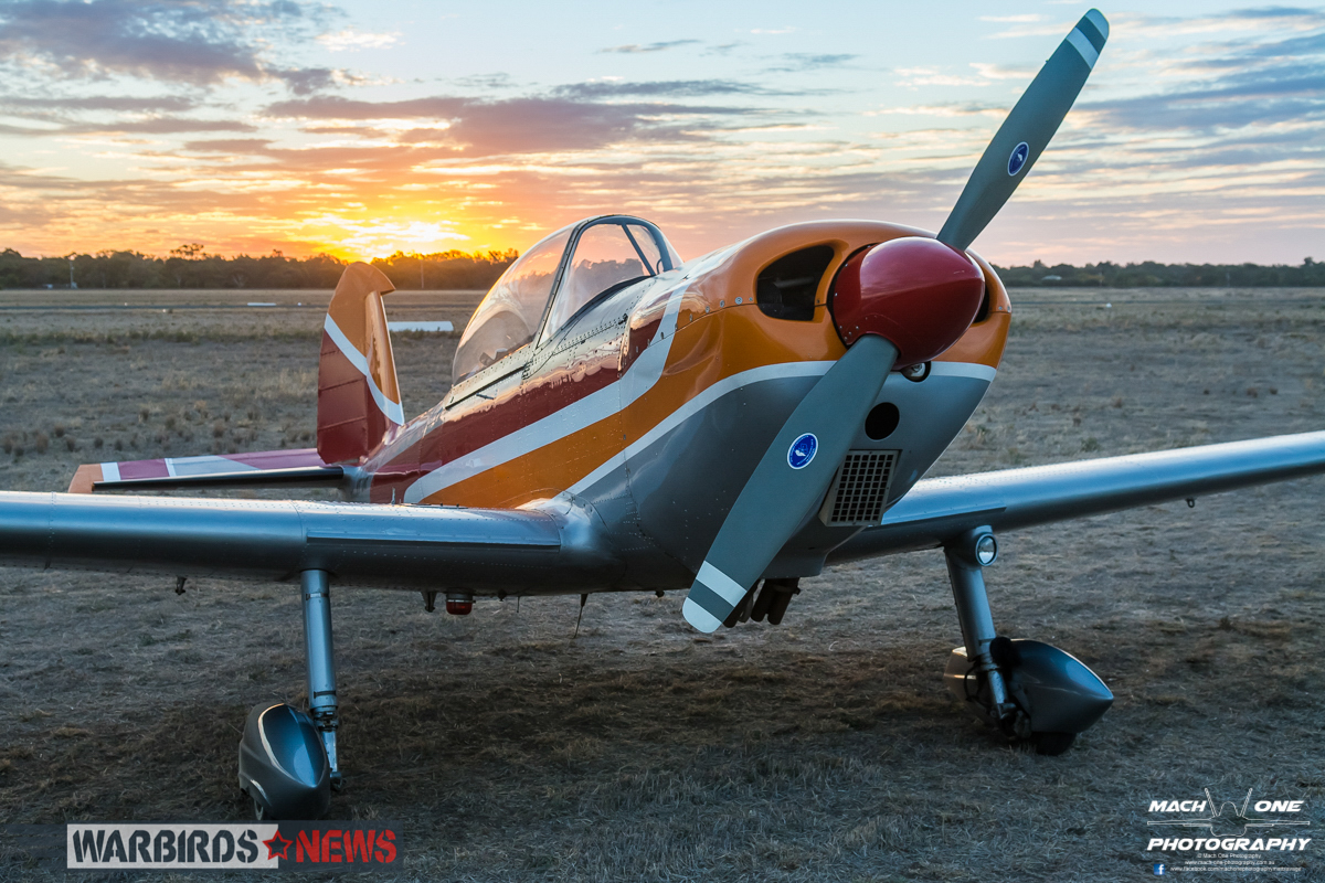 Richard Maclean's modified Chipmunk T.10 VH-BVP in the glow of sunset. (photo by Matt Savage)