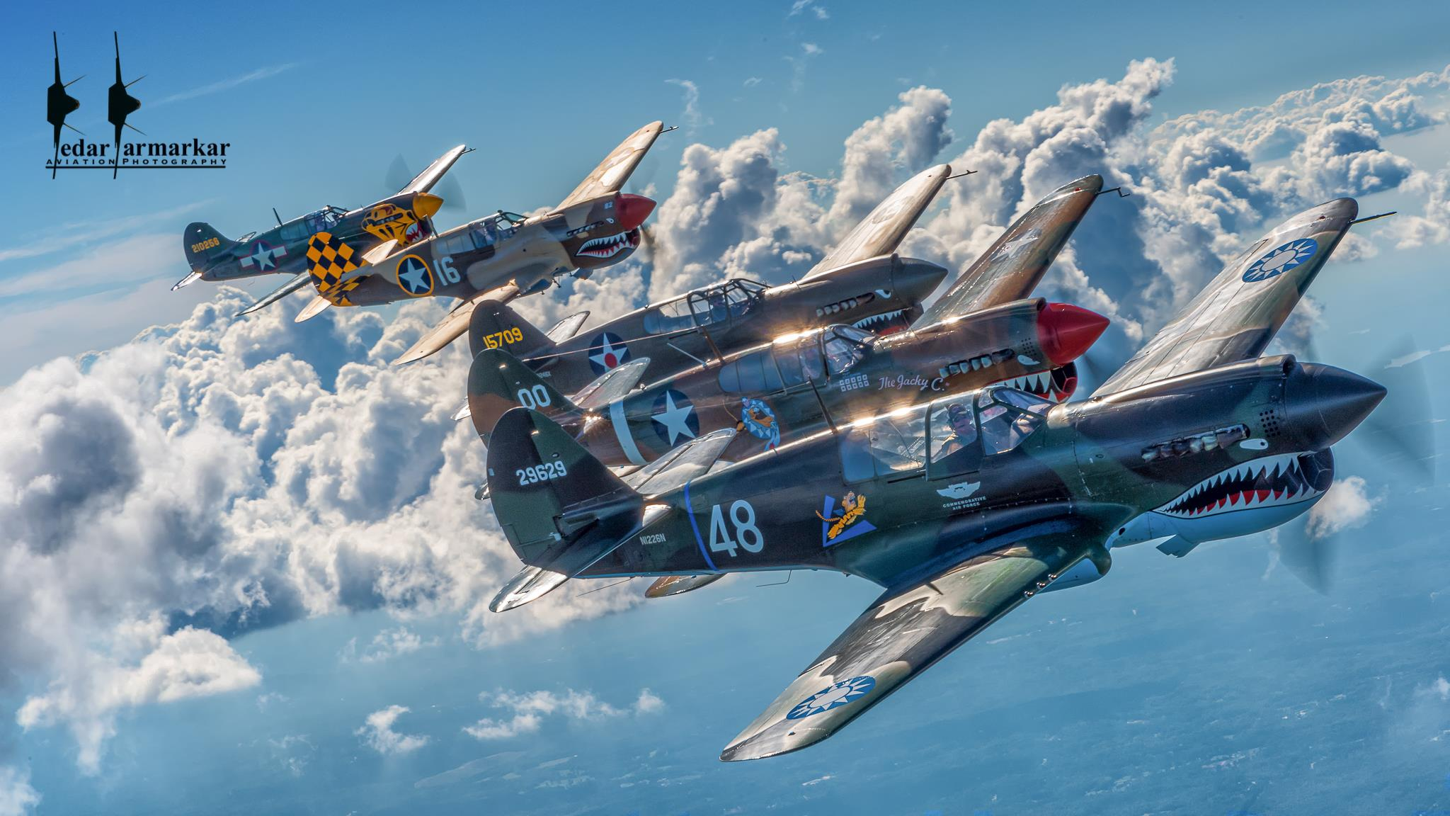 The majestic formation of the five P-40s that participated in the 2016 Atlanta Warbird Weekend. ( Photo by Kedar Karmakar)