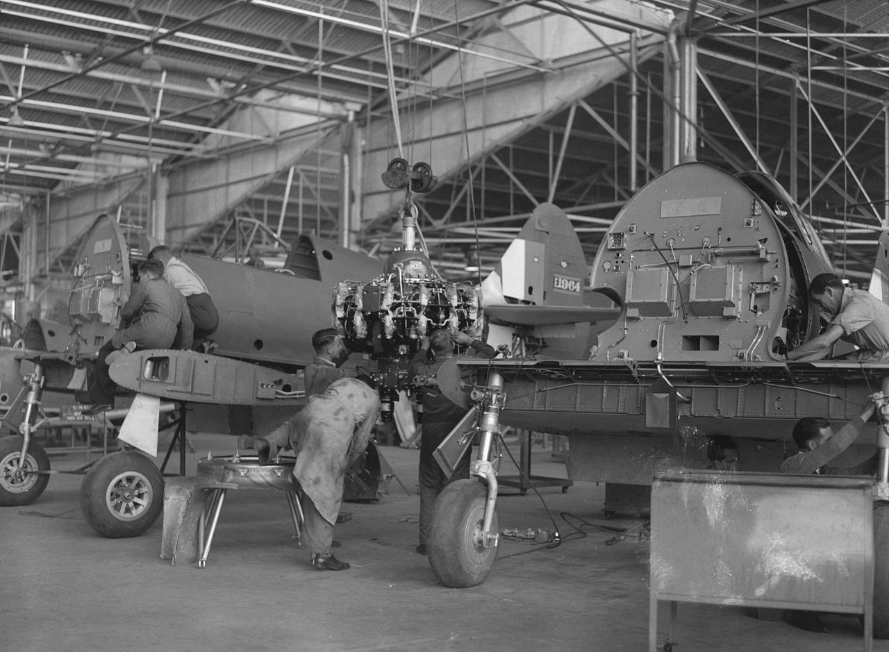Boomerangs on the CAC production line during 1943. (photo via Library of Congress)