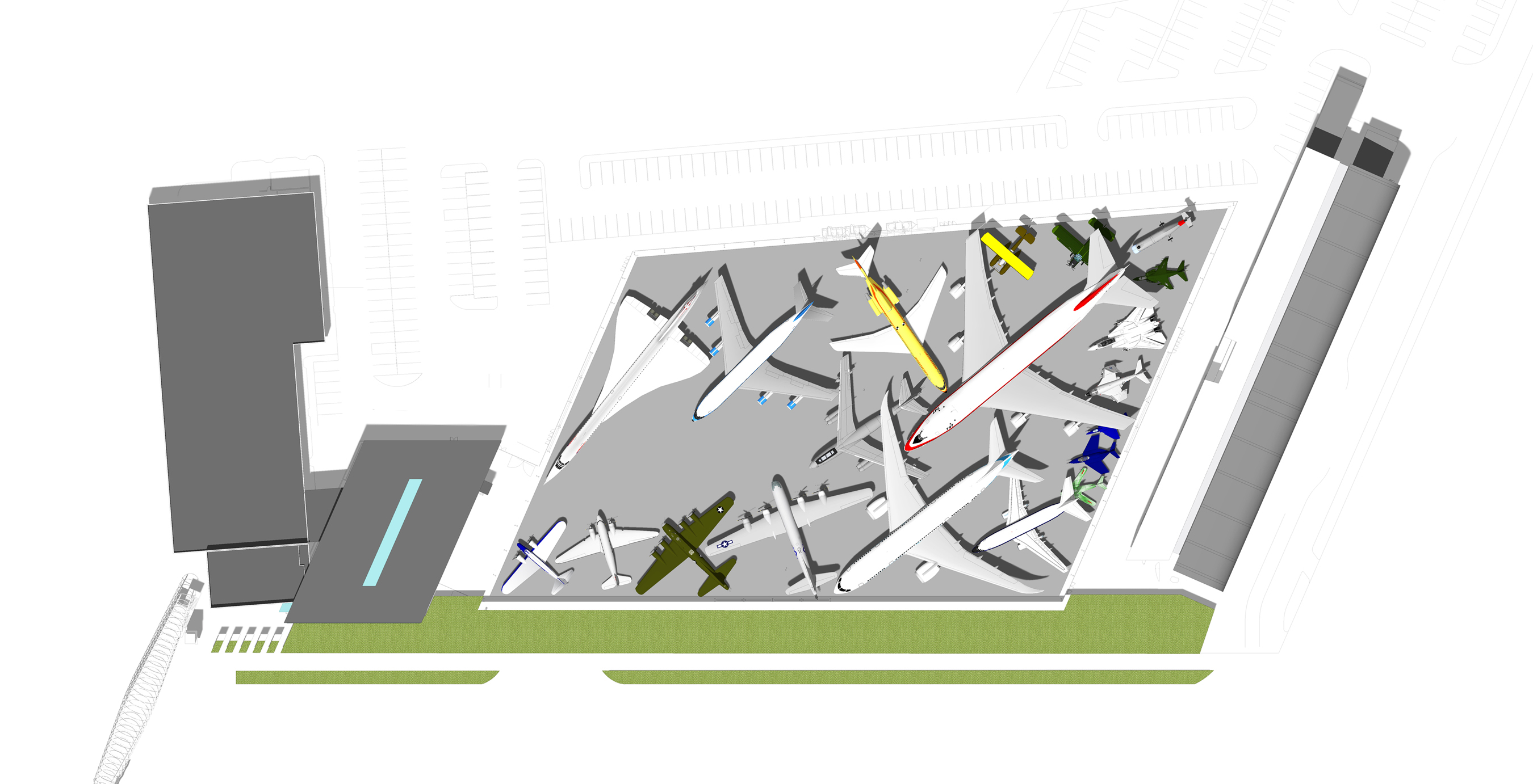 Aerial rendering of the Aviation Pavilion's plane arrangement (Graphic: Business Wire)