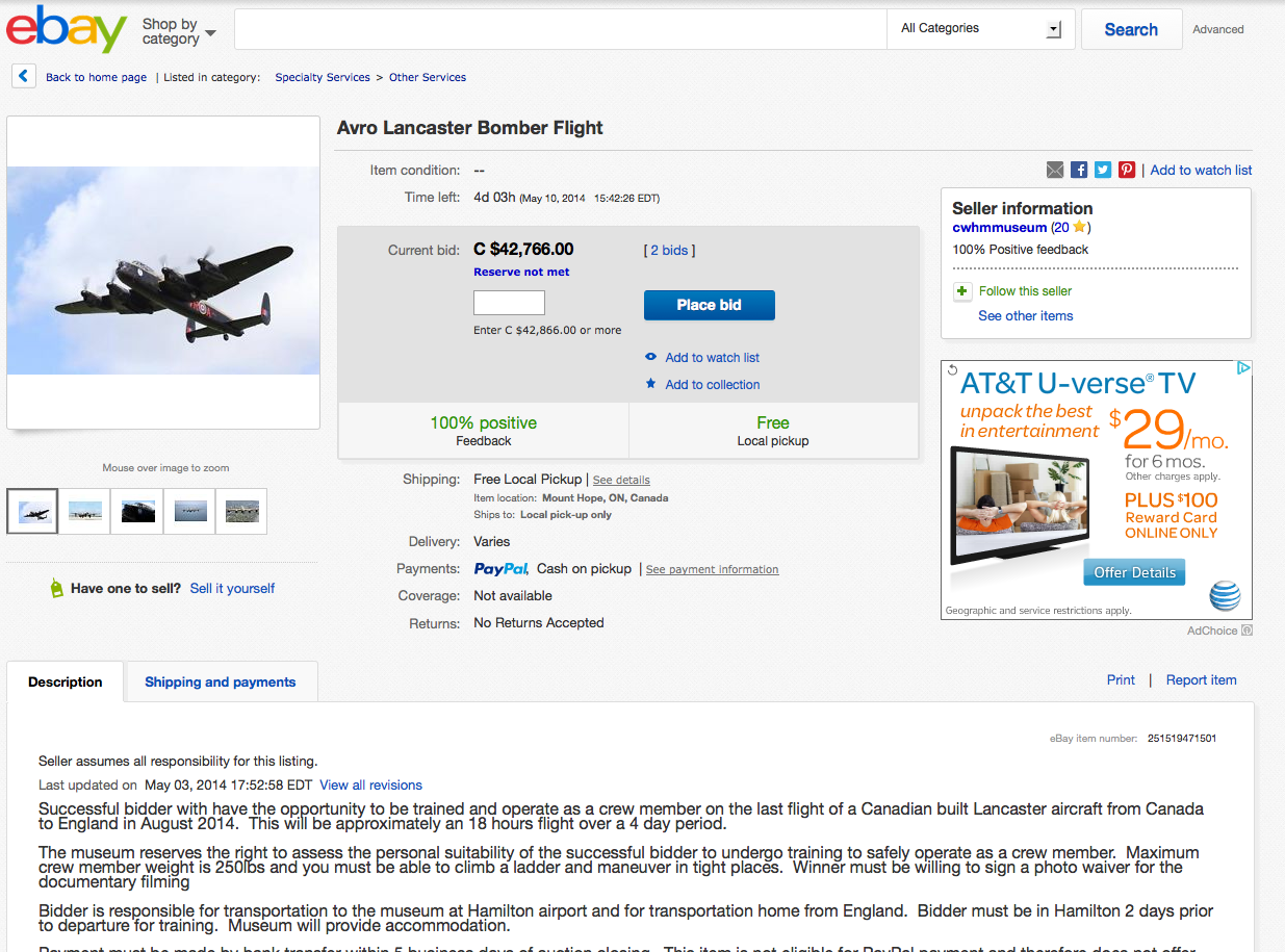 Avro Lancaster Bomber Flight - eBay auction