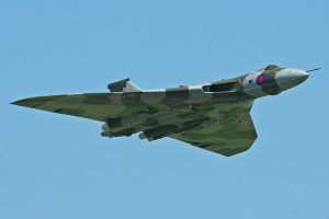 Avro Vulcan XH558 in flight at the Waddington Air Show earlier this year (Image Credit: Alan Wilson CC 2.0)
