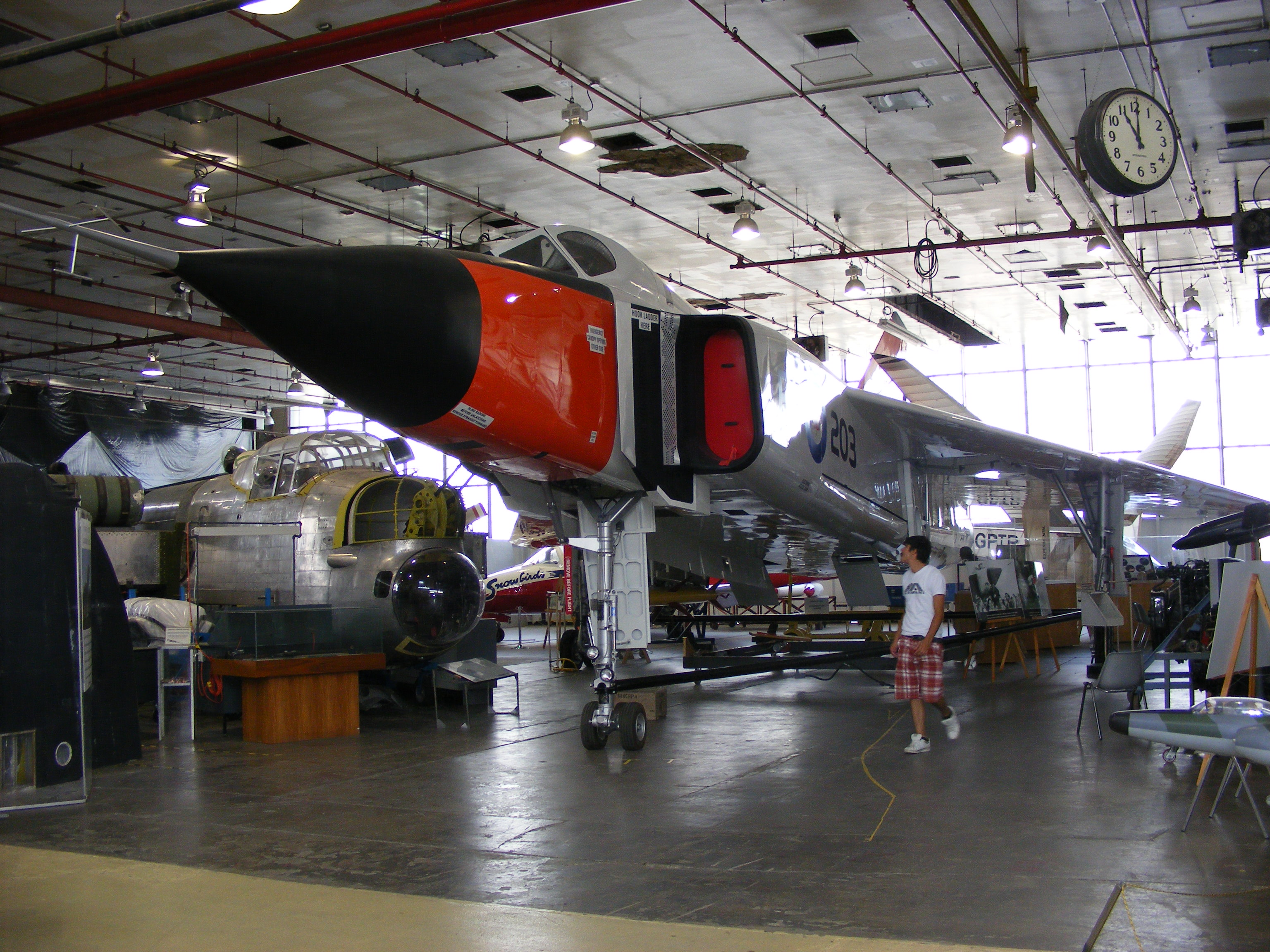 A view inside the Canadian Air & Space Museum's old home, inside the now-demolished historic deHavilland Canada factory hangars at Downsview Airport. (photo via Wikipedia)