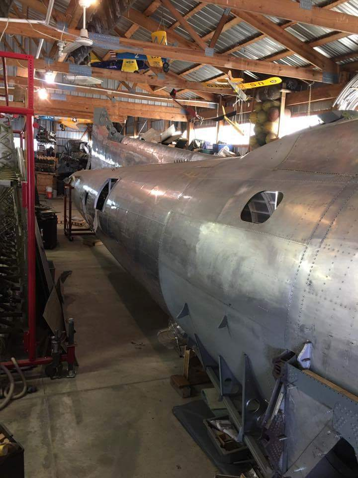 The Desert Rat's fuselage is now structurally complete, and is now being re-fitted with internal systems and fixtures.  (photo via Vintage Aviation Museum)