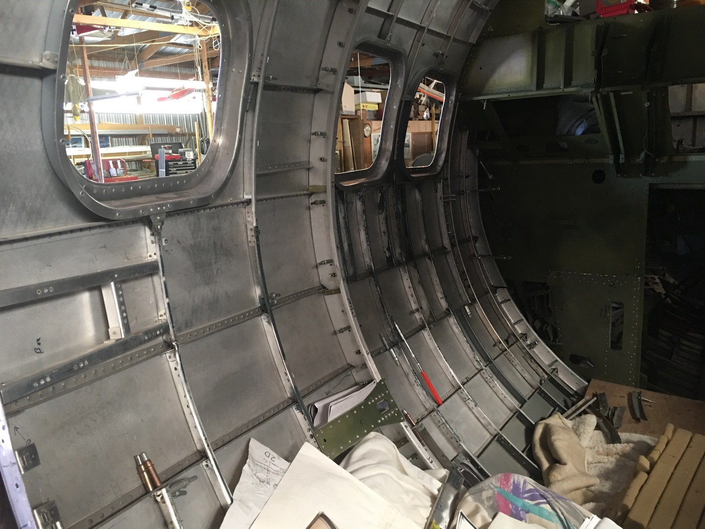 An interior view of Desert Rat's nose section. (photo via Vintage Aviation Museum)