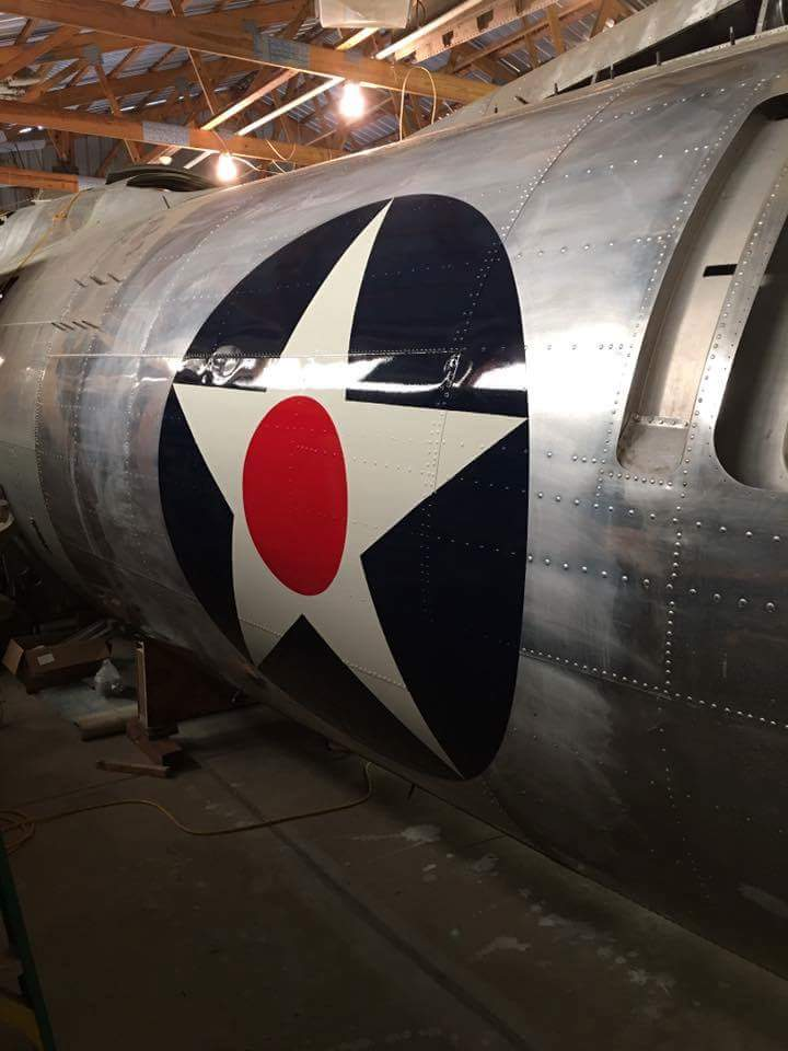 Desert Rat has received her fuselage insignia, painted on the fuselage prior to receiving camouflage, just the way Boeing did it during wartime production. (photo via Vintage Aviation Museum)