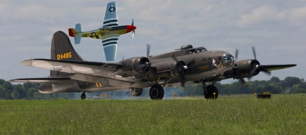 Photoshopped image of The Memphis belle and Red Nose. Photo by Greg Bartram and Warbirds News.