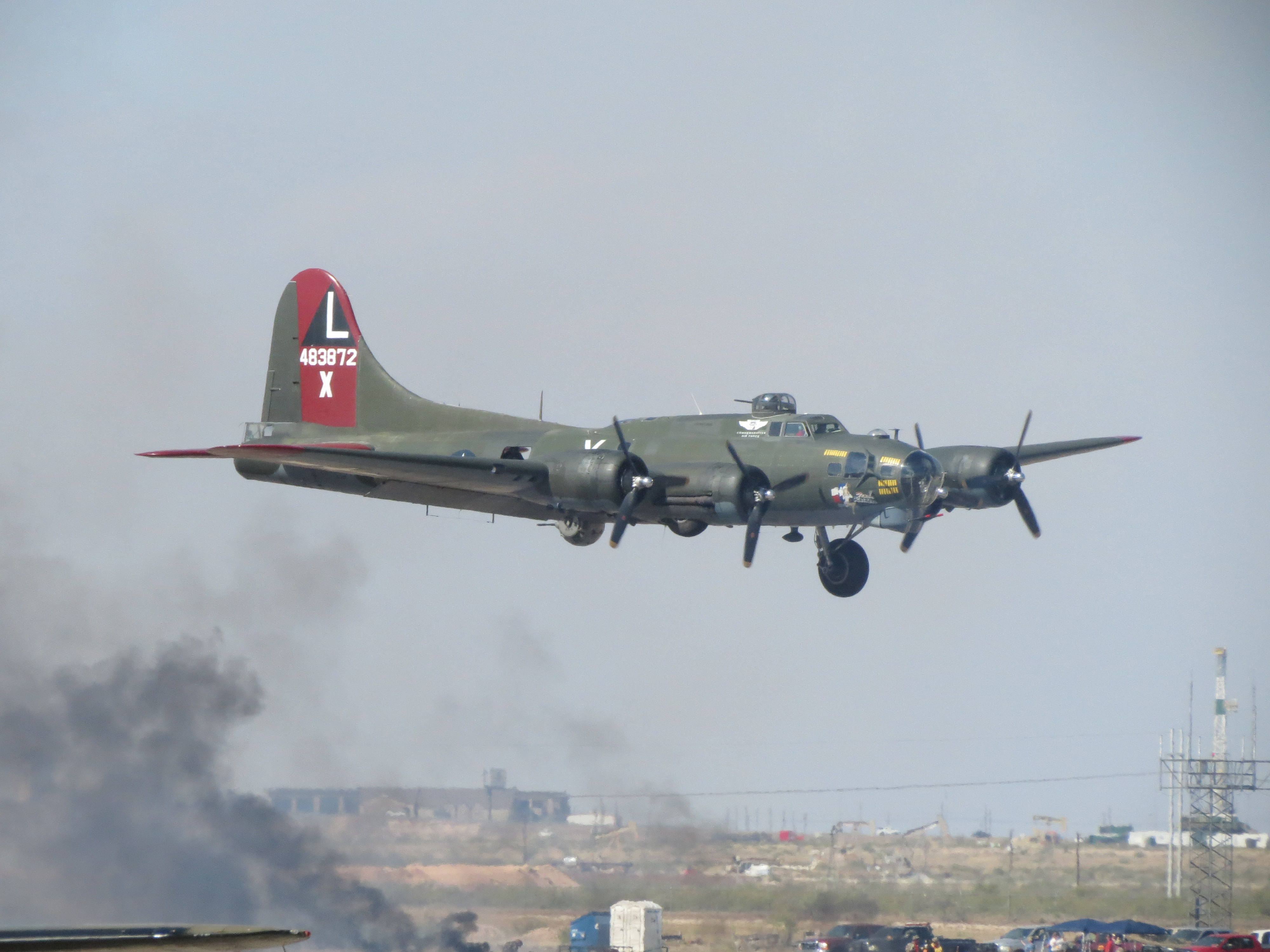 CAF Gulf Coast Wing's B-17 Texas Raiders makes a one wheel pass. ( Image credit Elena DePree)