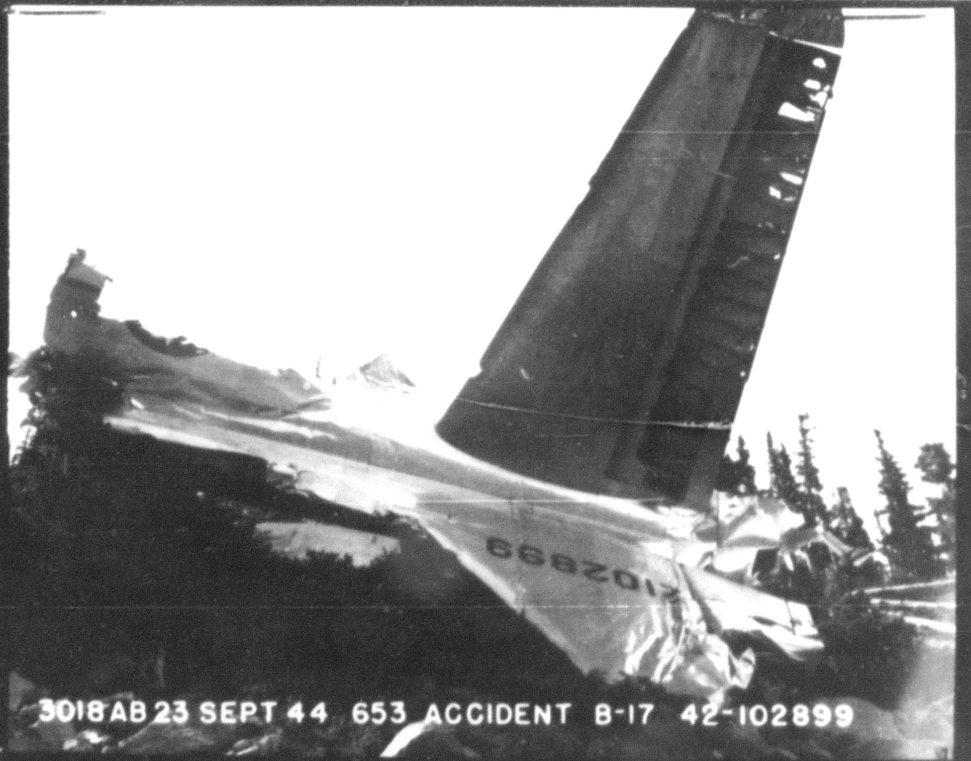 B-17G 42-102889 took off from Kingman Army Air Field on a round robin training night flight. While in the vicinity of Flagstaff, the Flying Fortress caught fire and crashed in the San Francisco Peaks on September 17, 1944. Aerospace Archaeologist Chris McDoniel will talk about this crash and several others on Jan. 10, 2015 at the Pima Air & Space Museum.