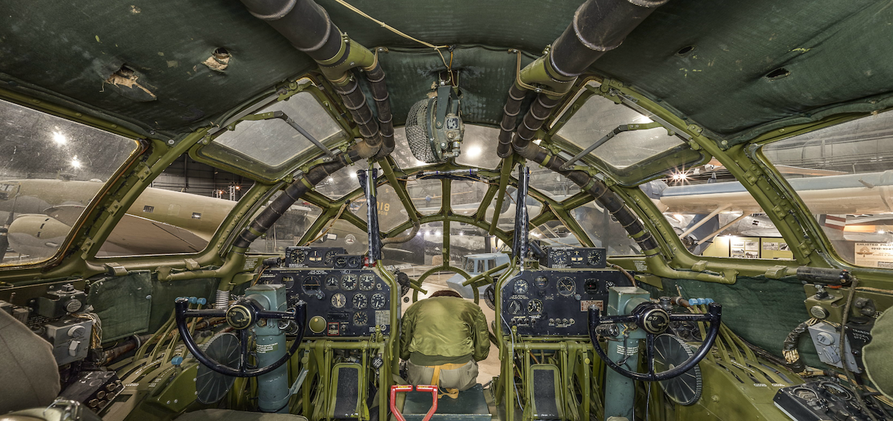 The cockpit of the Boeing B-29 Superfortress ACI Cockpit360º app available from the museum and AeroCapture Images.